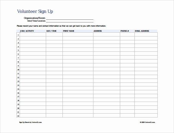 Sign Up Sheet Example Inspirational Free 16 Sign Up Sheet Samples In Google Docs