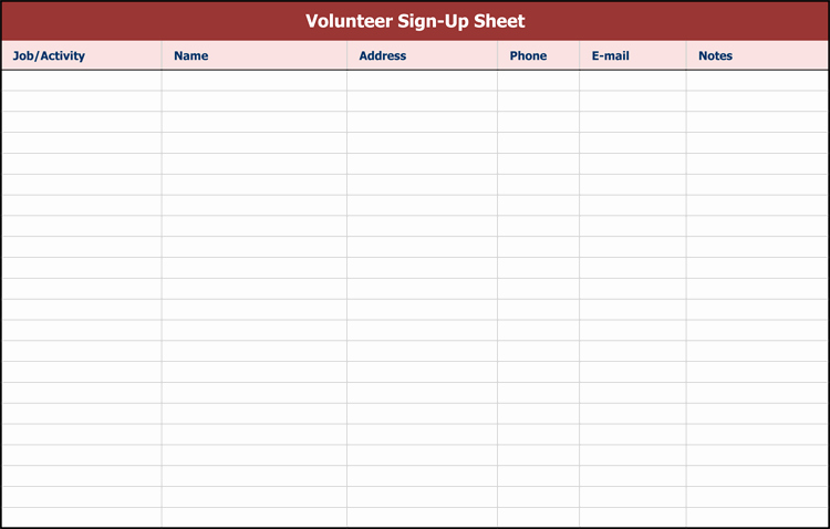 Sign Up Sheet Example Lovely 26 Free Sign Up Sheet Templates Excel & Word