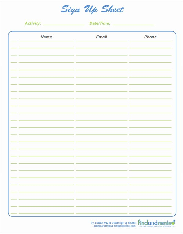 Sign Up Sheet Example Lovely 27 Sample Sign Up Sheet Templates Pdf Word Pages Excel