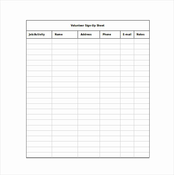 Sign Up Sheet Example Unique 12 Sign Up Sheet Templates Free Excel Word Sample