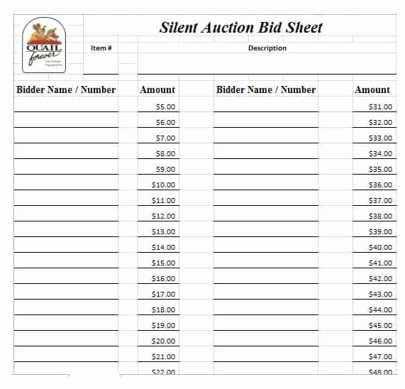 Silent Auction Bid Sheet Awesome 21 Silent Auction Bid Sheets Free Download [word Excel] 2019
