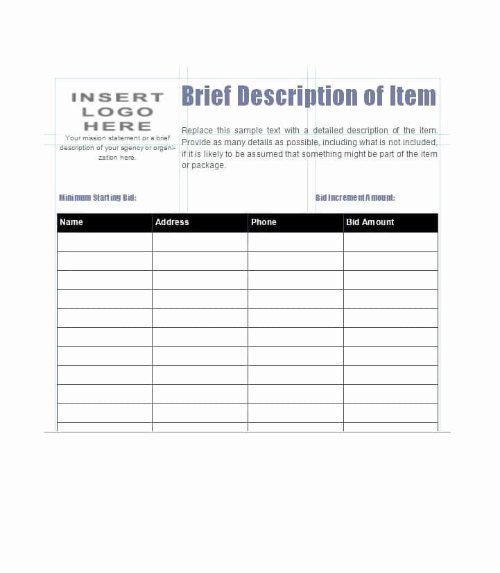 Silent Auction Bid Sheet Beautiful 40 Silent Auction Bid Sheet Templates [word Excel]