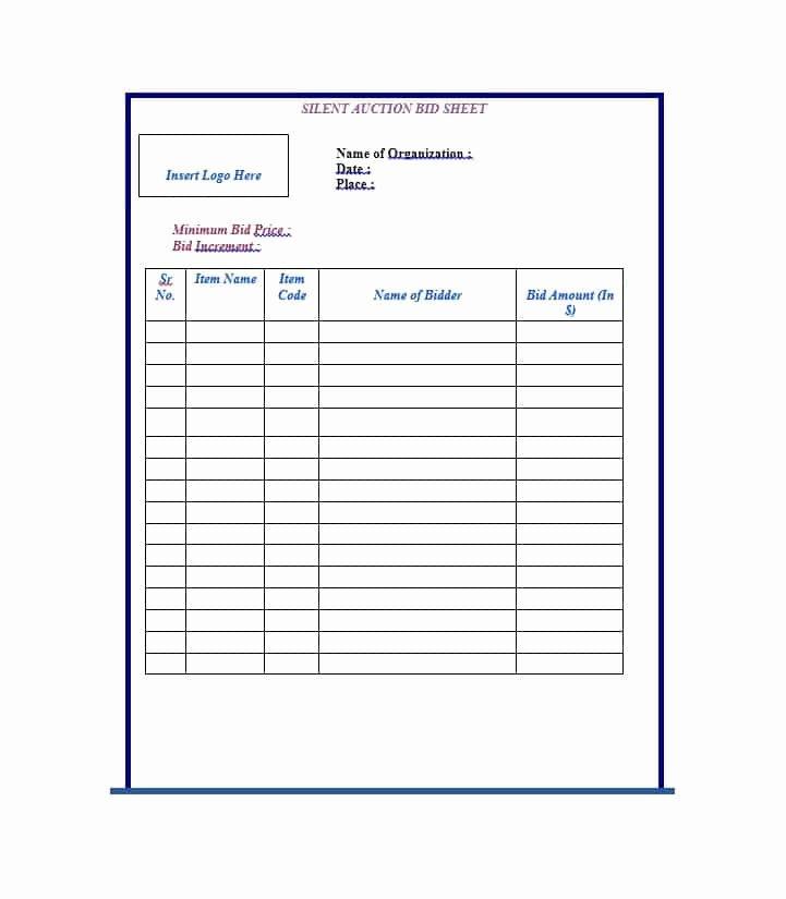 Silent Auction Bid Sheet Elegant 40 Silent Auction Bid Sheet Templates [word Excel]