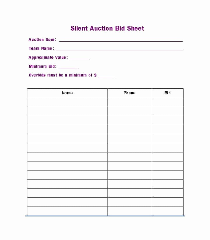 Silent Auction Bid Sheet Inspirational 40 Silent Auction Bid Sheet Templates [word Excel]
