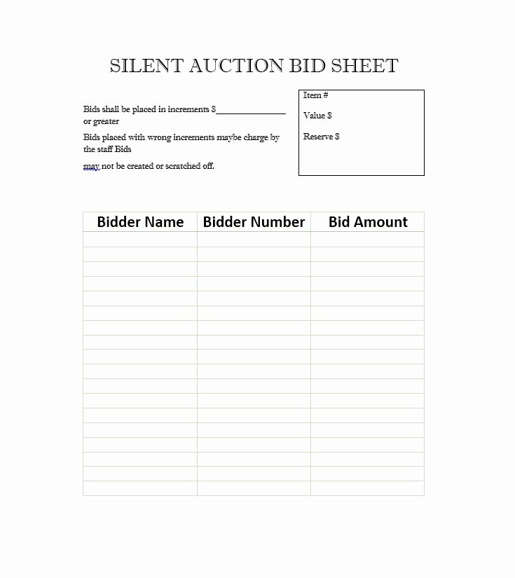 Silent Auction Bid Sheet Luxury 40 Silent Auction Bid Sheet Templates [word Excel]