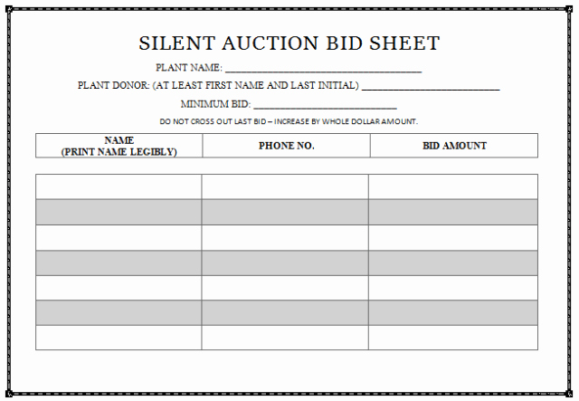 Silent Auction Bid Sheet Printable Beautiful 30 Silent Auction Bid Sheet Templates [word Excel Pdf]