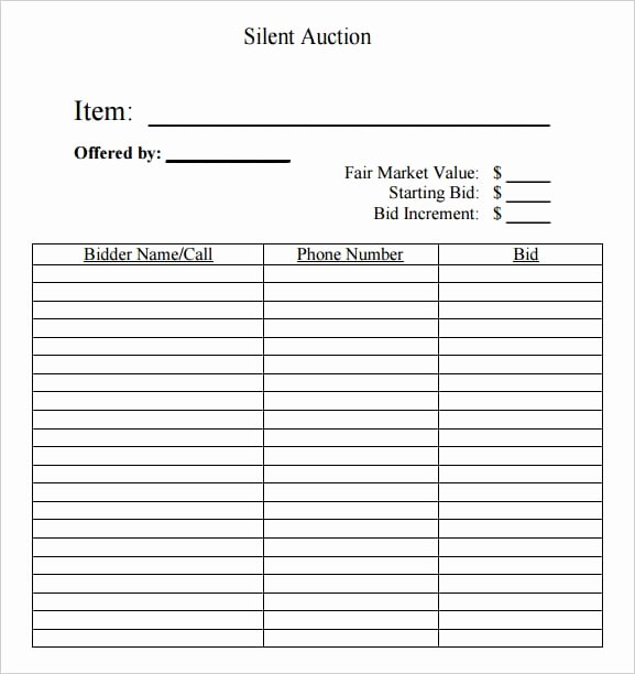 Silent Auction Bid Sheet Printable Beautiful 6 Silent Auction Bid Sheet Templates formats Examples