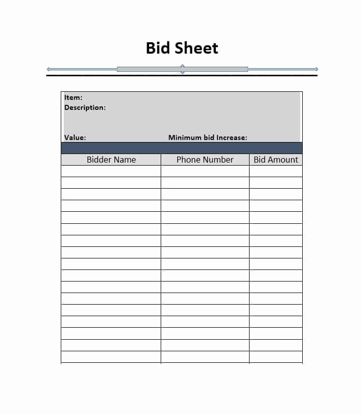 Silent Auction Bid Sheet Printable Beautiful Silent Auction Bid Sheet Template Free Word Printable