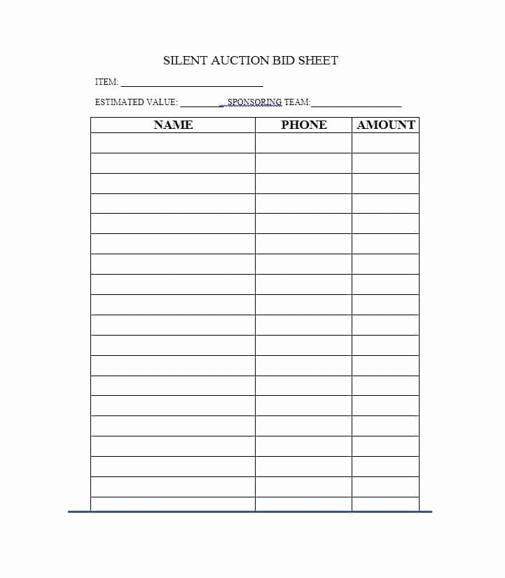 Silent Auction Bid Sheet Printable Best Of 40 Silent Auction Bid Sheet Templates [word Excel]