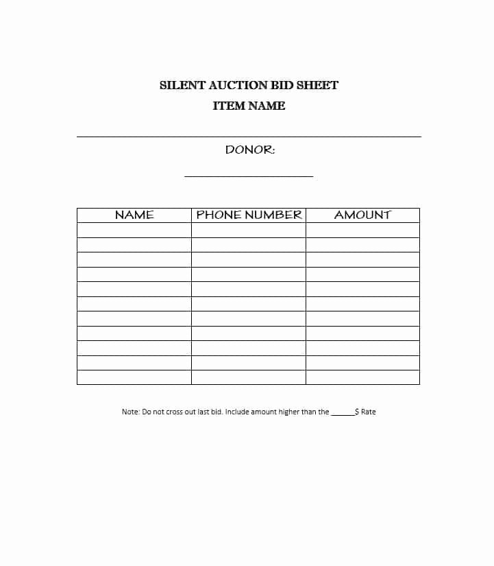 Silent Auction Bid Sheet Printable Elegant 40 Silent Auction Bid Sheet Templates [word Excel]