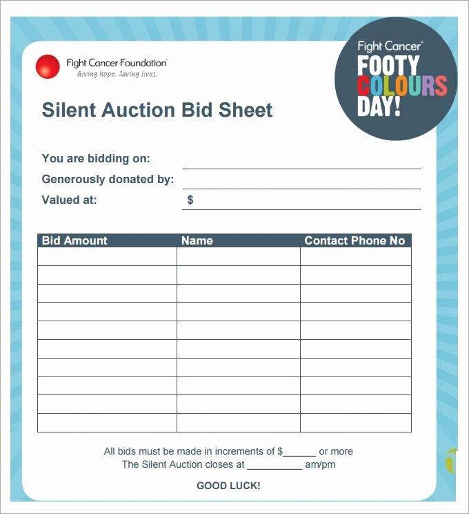 Silent Auction Bid Sheet Printable Fresh Silent Auction Bid Sheet Template 29 Free Word Excel