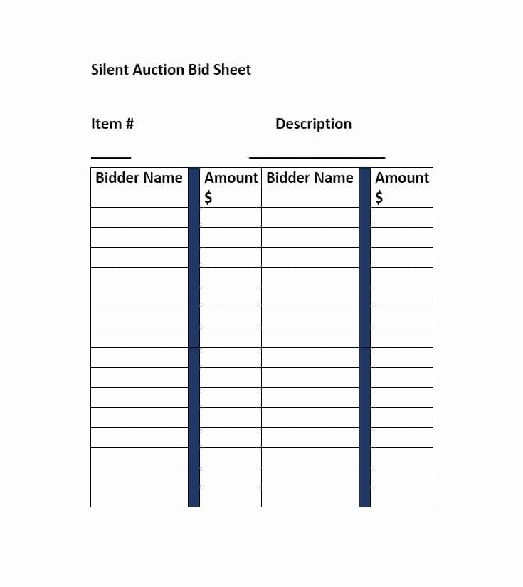 Silent Auction Bid Sheet Printable Fresh Silent Auction Bid Sheet Template Free Word Printable