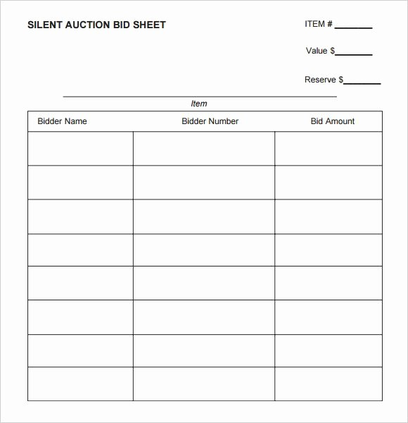 Silent Auction Bid Sheet Printable Inspirational Silent Auction Bid Sheet Printable