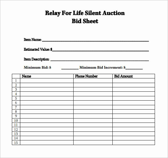 Silent Auction Bid Sheet Printable Lovely Sample Silent Auction Bid Sheet – 6 Example format