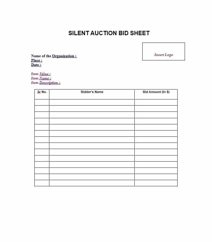 Silent Auction Bid Sheet Printable Unique 40 Silent Auction Bid Sheet Templates [word Excel]