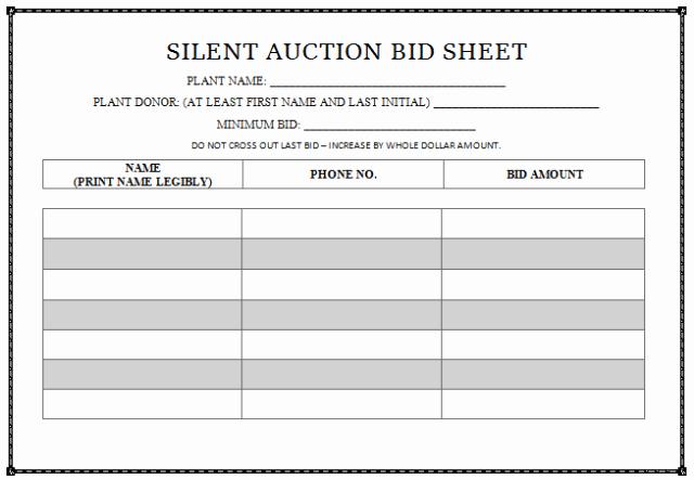 Silent Auction Bid Sheet Unique 30 Silent Auction Bid Sheet Templates [word Excel Pdf]