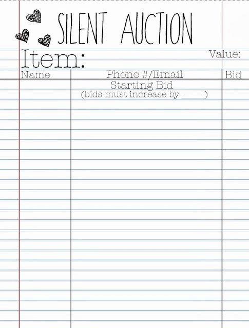 Silent Auction Bid Sheet Word Awesome Silent Auction Bid Sheets