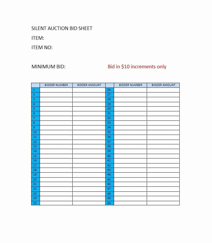 Silent Auction Bid Sheet Word Beautiful 40 Silent Auction Bid Sheet Templates [word Excel]