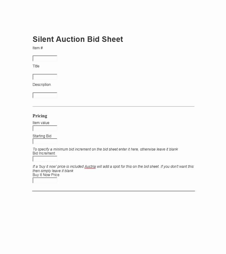 Silent Auction Bid Sheet Word Best Of 40 Silent Auction Bid Sheet Templates [word Excel