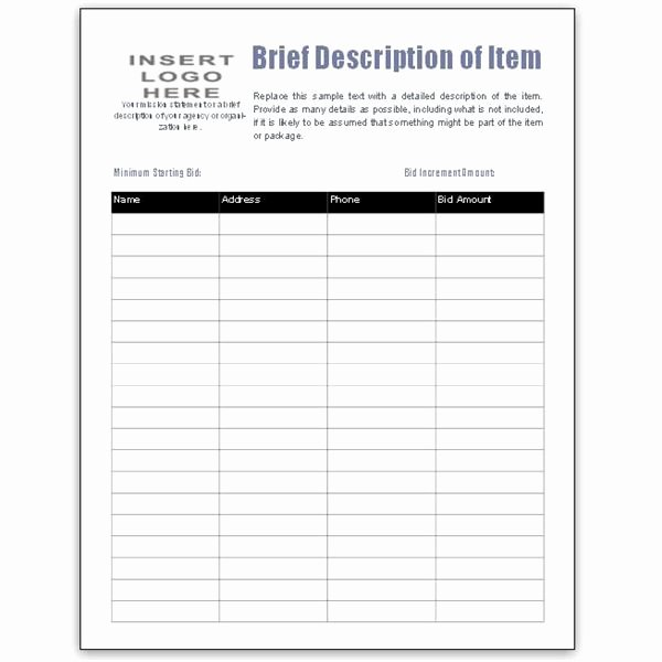 Silent Auction Bid Sheet Word Elegant Free Bid Sheet Template Collection Downloads for Ms Publisher