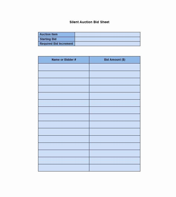 Silent Auction Bid Sheet Word New 40 Silent Auction Bid Sheet Templates [word Excel]