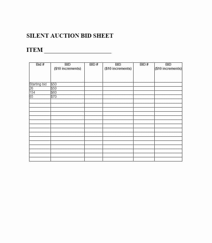 Silent Auction Bid Sheet Word Unique Free Silent Auction Bid Sheet Templates Word Excel