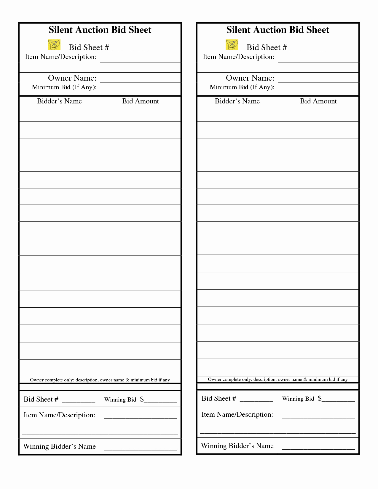 Silent Auction forms Awesome Silent Auction Bid Sheet Google Search