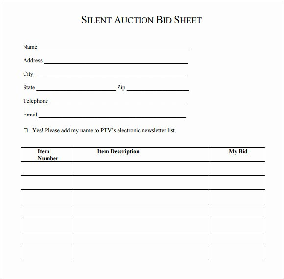 Silent Auction forms Beautiful Silent Auction Bid Template