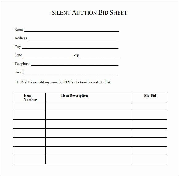 Silent Auction forms Beautiful Silent Auction Bid Template