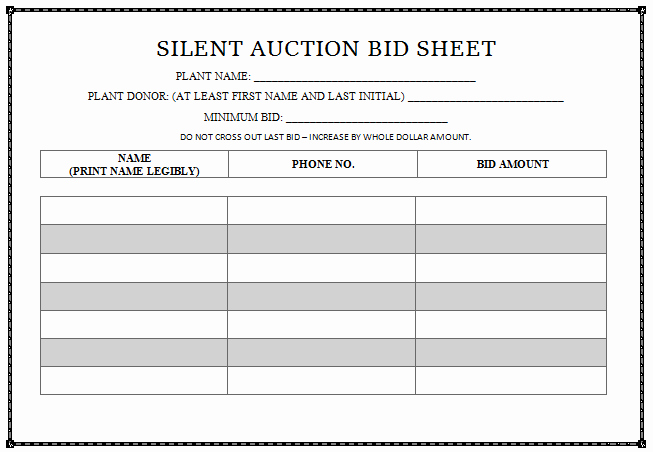Silent Auction forms Fresh Silent Auction Template