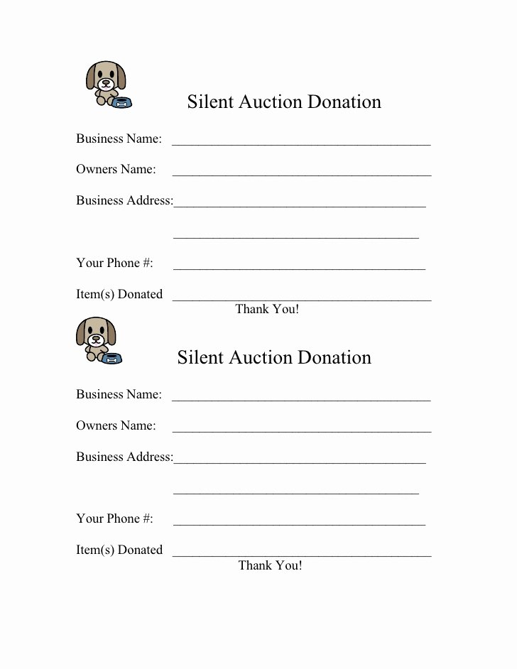 Silent Auction forms Lovely form for 2009 Silent Auction Donation