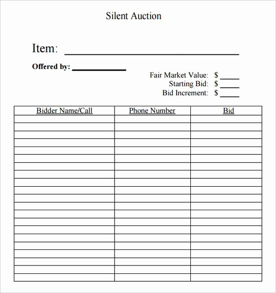 Silent Auction forms Lovely Silent Auction Bid Sheet Free