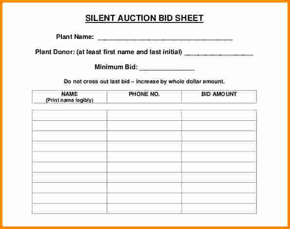 Silent Auction Template Free Best Of 30 Silent Auction Bid Sheet Templates [word Excel Pdf]