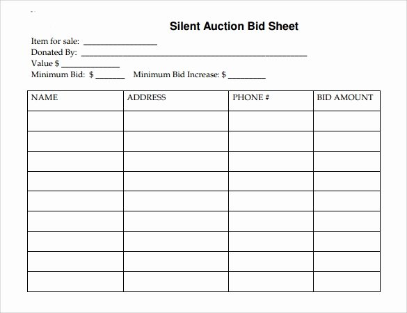 Silent Auction Template Free Best Of Silent Auction Bid Sheet – Free Download