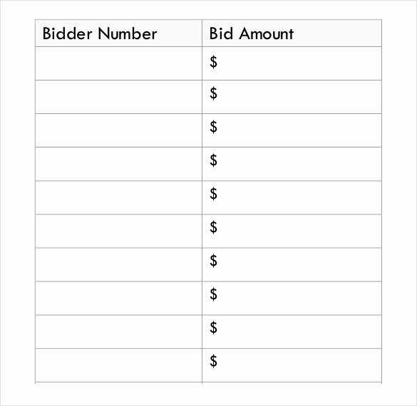 Silent Auction Template Free Fresh 20 Silent Auction Bid Sheet Templates & Samples Doc