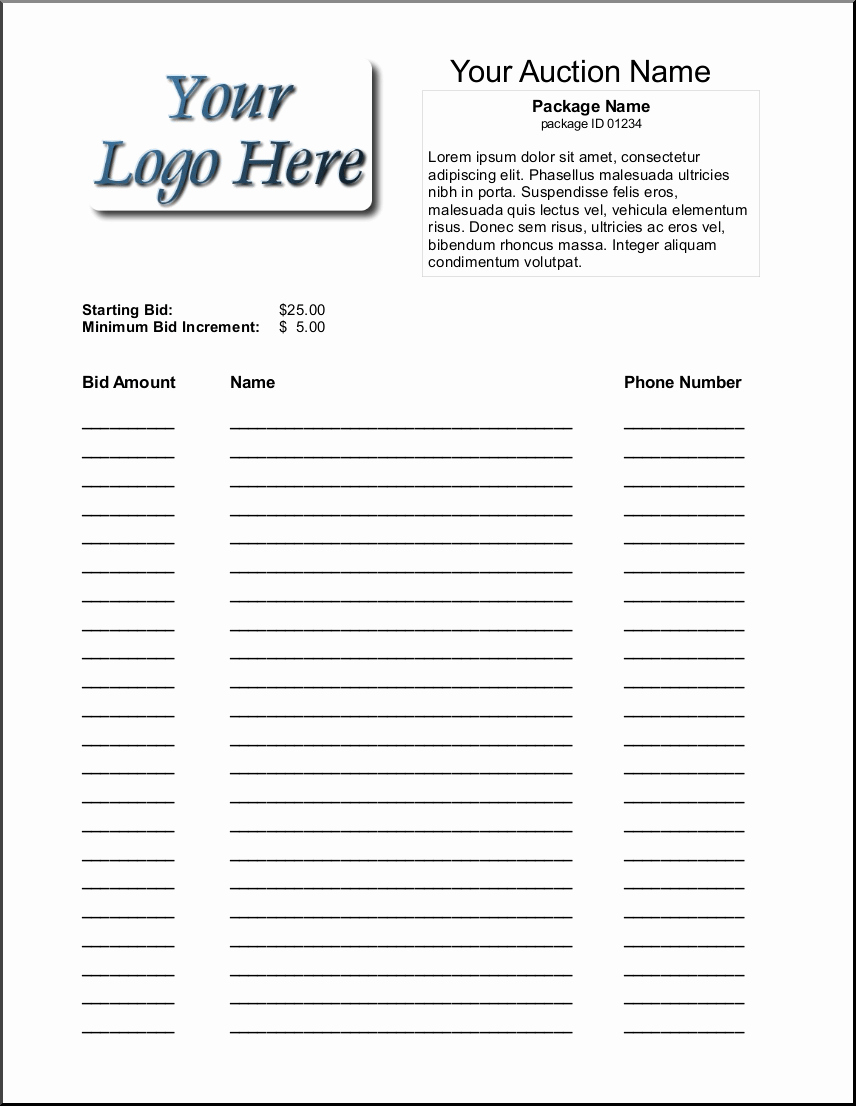 Silent Auction Template Free New 16 Silent Auction Bid Sheet Templates Free Sample Templates