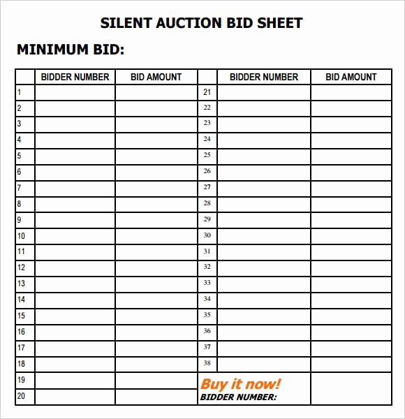 Silent Auction Template Free New 6 Silent Auction Bid Sheet Templates formats Examples