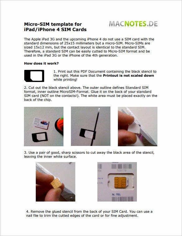Sim Card Cut Template New Micro Sim Card Template 12 Free Printable Sample