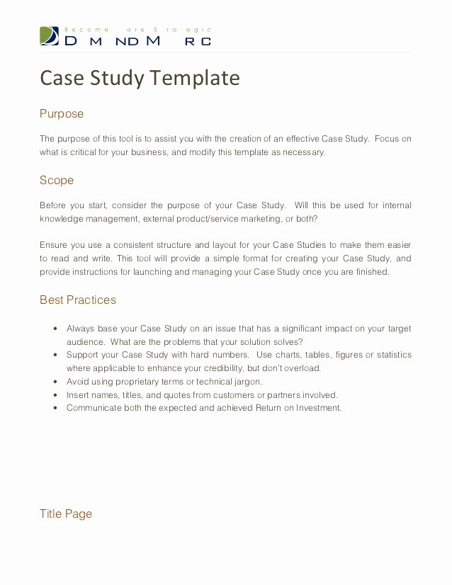 Simple Business Case Examples Best Of Case Study Template