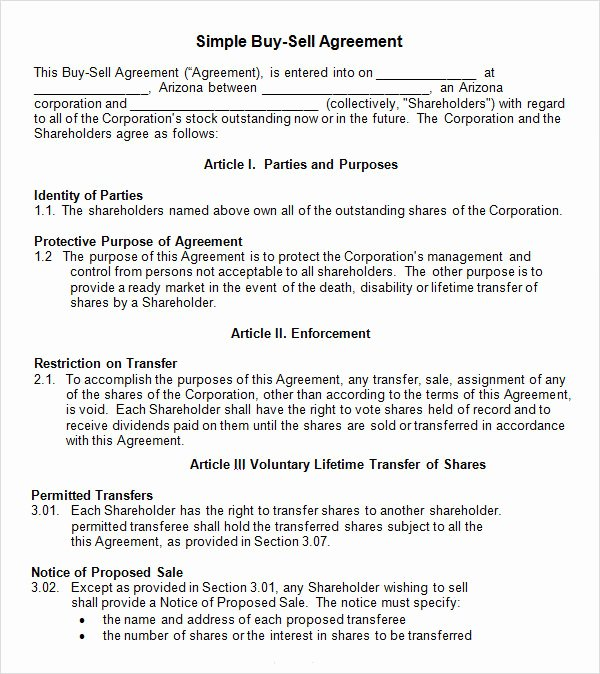 Simple Buy Sell Agreement form Best Of 20 Sample Buy Sell Agreement Templates Word Pdf Pages
