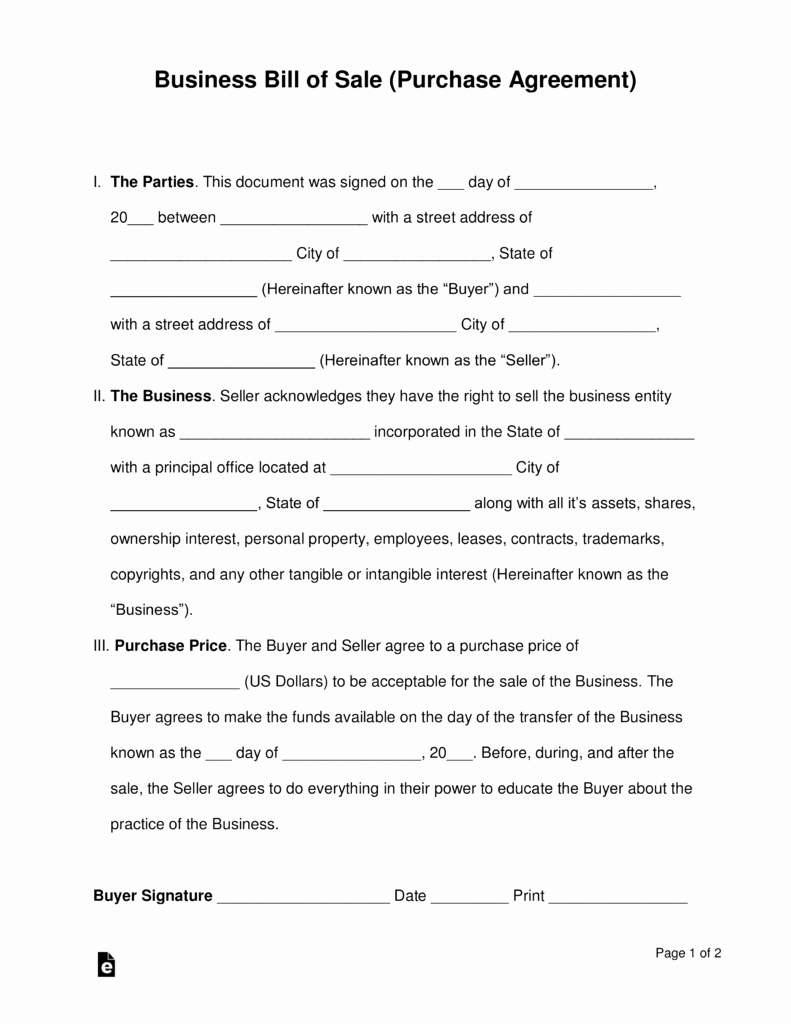 Simple Buy Sell Agreement form Fresh Free Business Bill Of Sale form Purchase Agreement