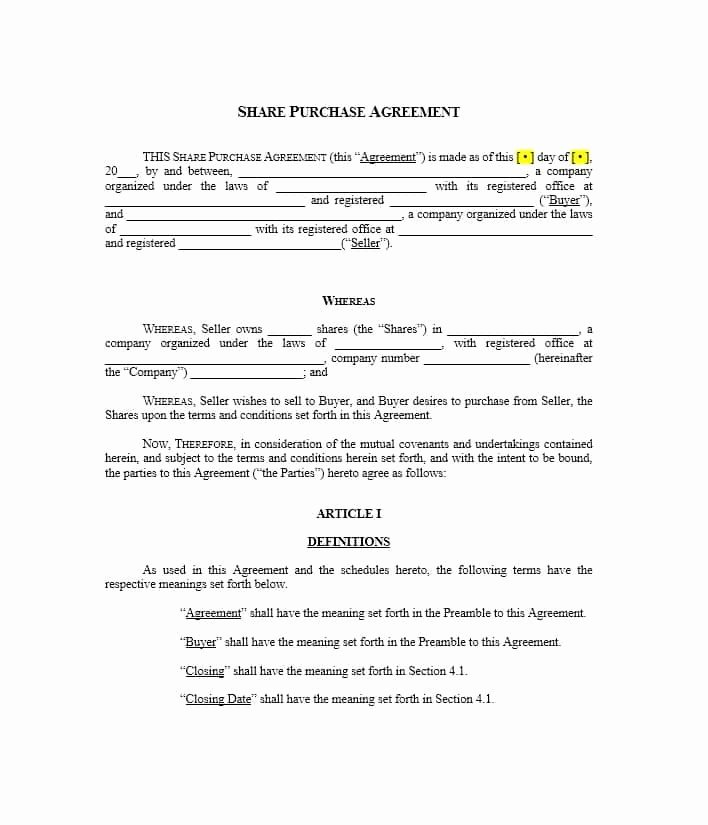 Simple Buy Sell Agreement form Luxury 37 Simple Purchase Agreement Templates [real Estate Business]