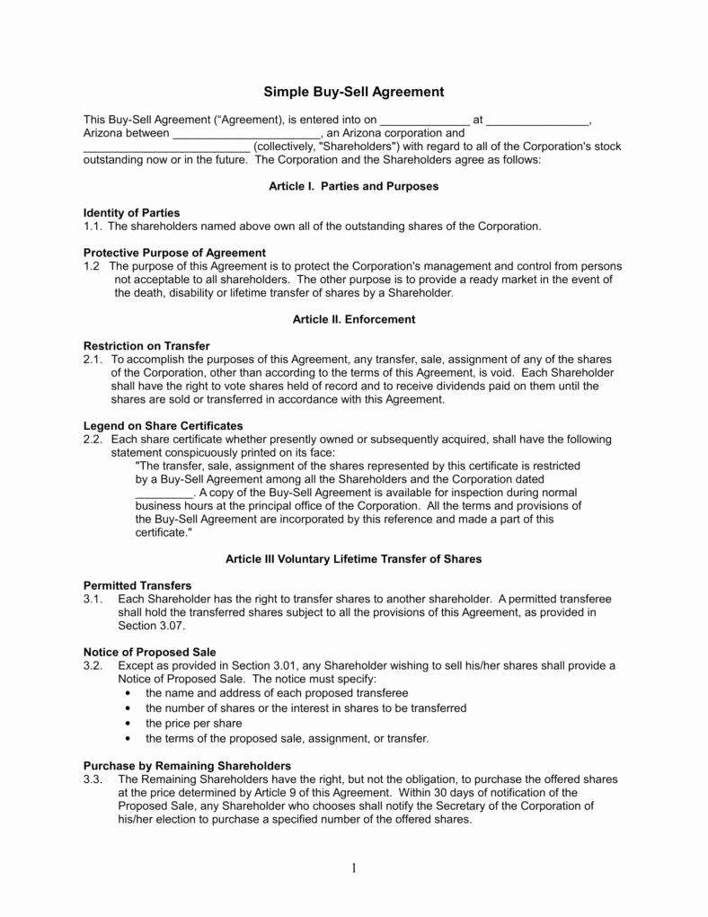 Simple Buy Sell Agreement form Luxury Simple Sell Agreement form Understanding the