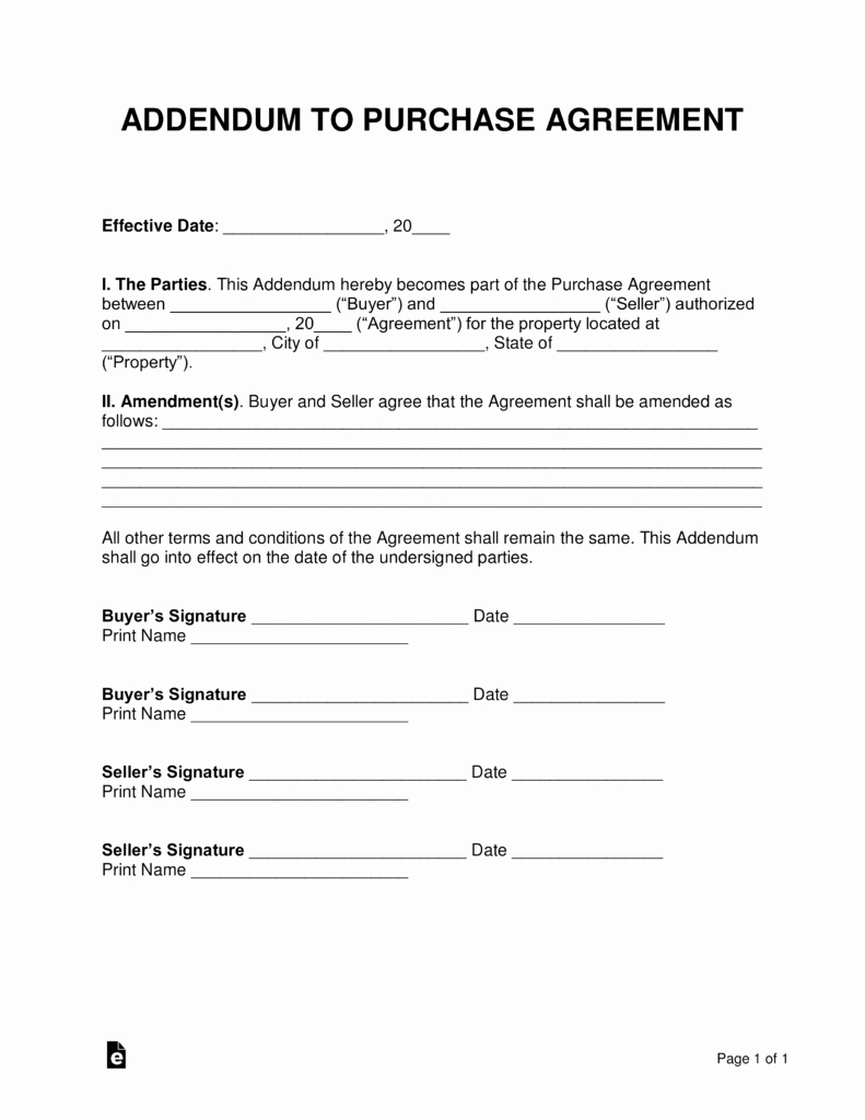 Simple Buy Sell Agreement form New Free Purchase Agreement Addendums & Disclosures Word
