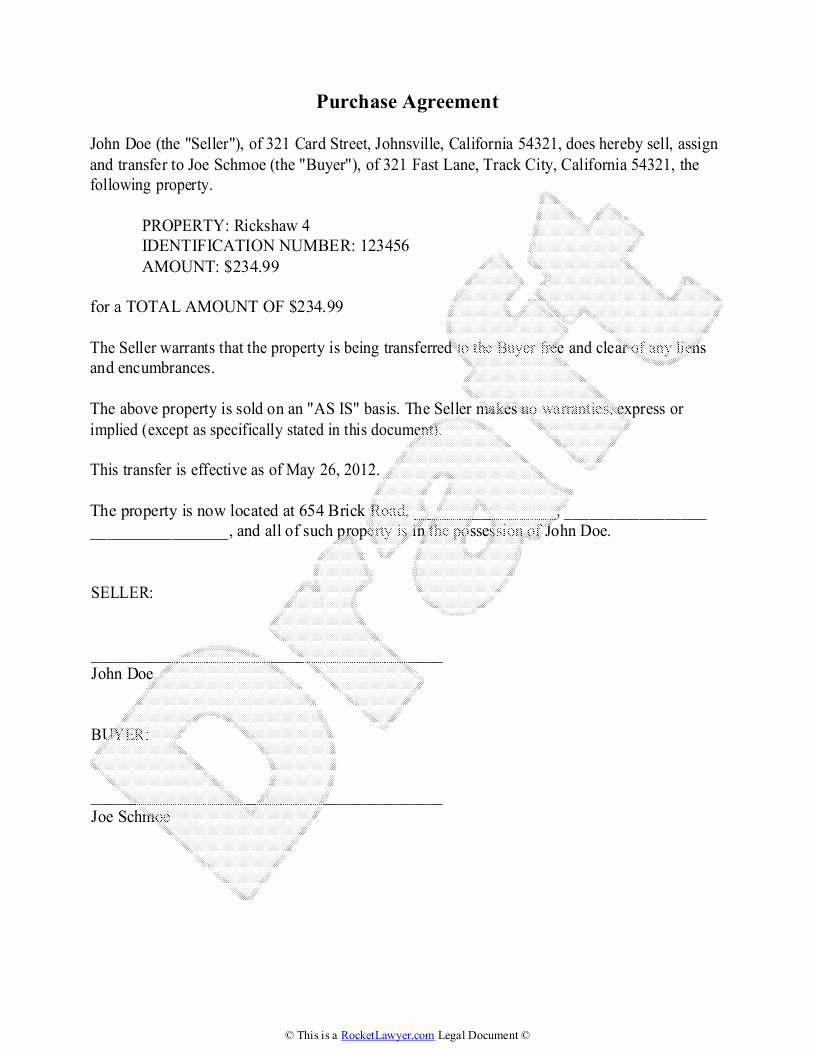 Simple Buy Sell Agreement form Unique Purchase Agreement Template Free Purchase Agreement