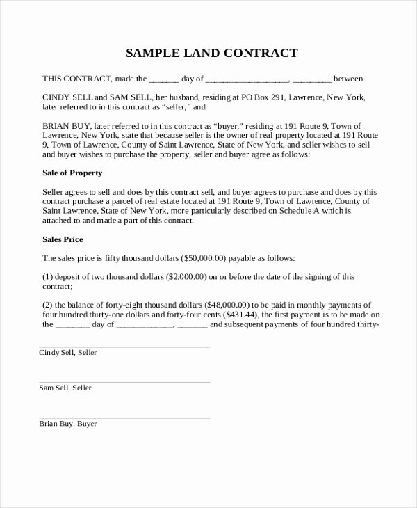 Simple Buy Sell Agreement form Unique Simple Land Contract Purchase Agreemen