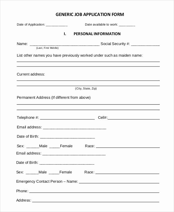 Simple Job Application Fresh Basic Application forms