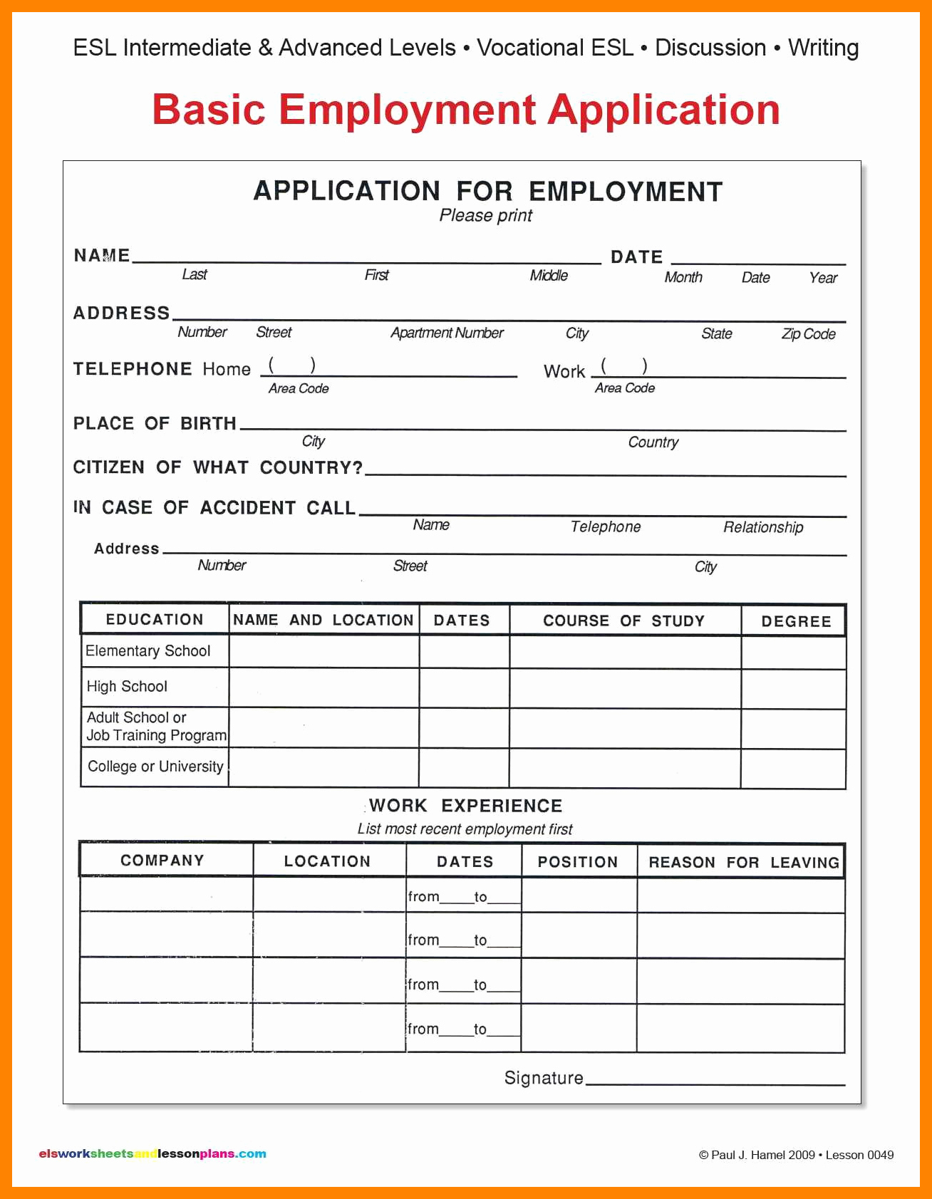 Simple Job Application Fresh Basic Job Application form
