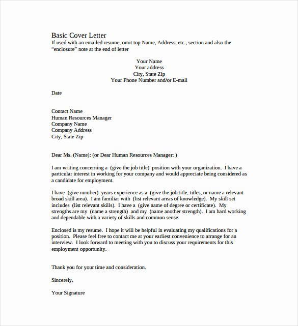 Simple Job Cover Letter Examples Beautiful 51 Simple Cover Letter Templates Pdf Doc