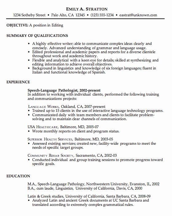 Simple Objective for Resume Beautiful Chronological Resume Example for Editing